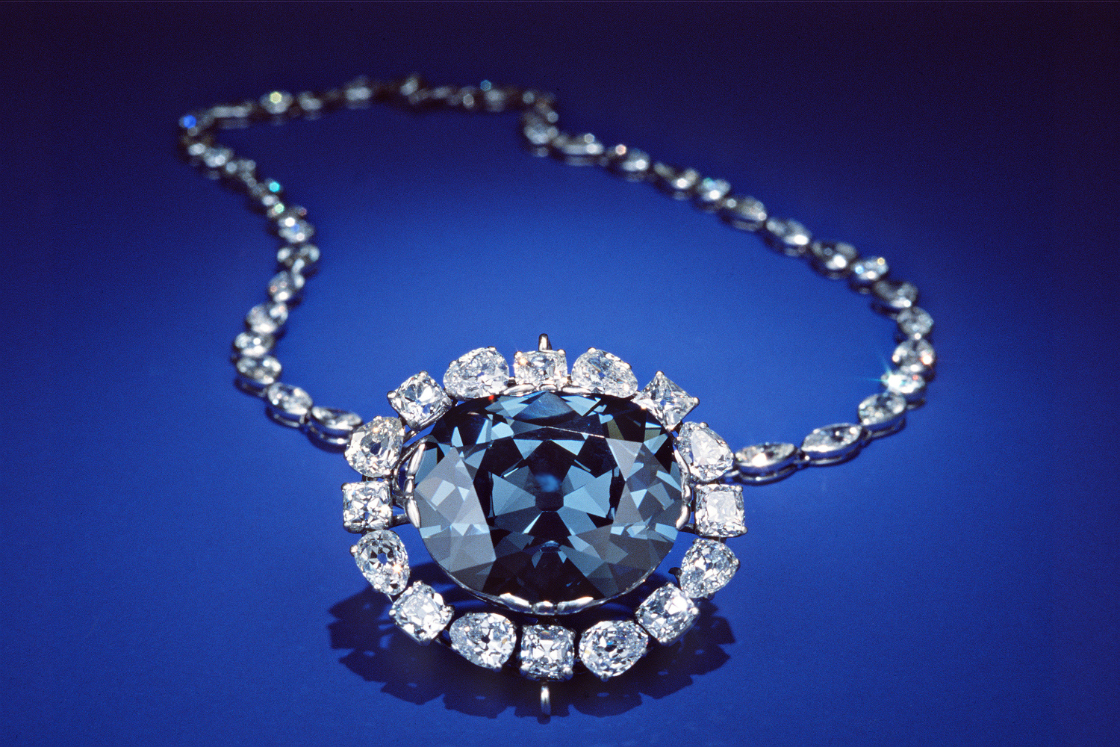 The Hope Diamond is on display at the Smithsonian's National Museum of Natural History. Photo credit: Smithsonian Institution.